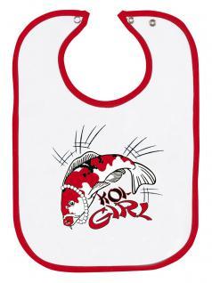 Baby-Lätzchen mit Druckmotiv - KOI GIRL - KO111 weiss-rot