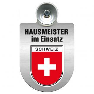 Einsatzschild für Windschutzscheibe incl. Saugnapf - Hausmeister im Einsatz - 309393-22 - Region Schweiz