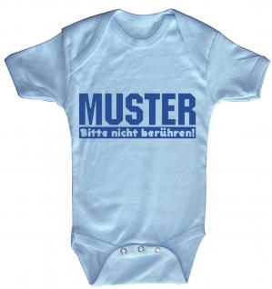 Babystrampler mit Print ? Muster bitte nicht berühren ? 08327 Blau - 0-6 Monate