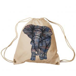Trend-Bag Turnbeutel Sporttasche Rucksack mit Print - Elefant - TB12991 natur