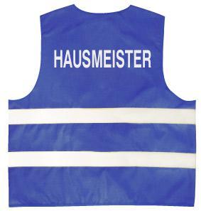 Warnweste mit Aufdruck - Hausmeister - 10335 blau - Gr. S-2XL - Vorschau
