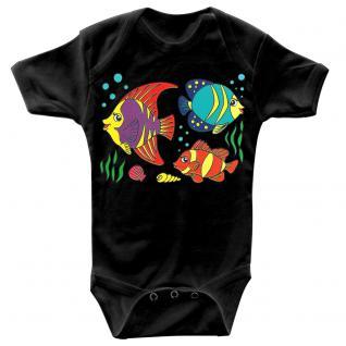 Baby-Body mit Druckmotiv Fische in 4 Farben und 4 Größen B12779 schwarz / 0-6 Monate