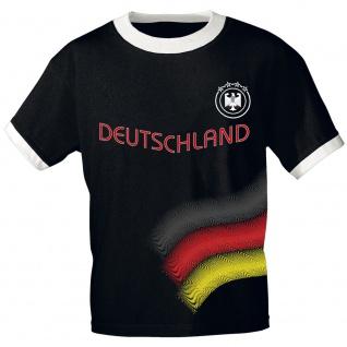 Kinder T-Shirt mit Print Deutschland Adler 4 Sterne 78570 Gr. schwarz / 122/128