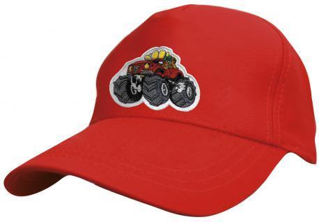 Kinder Schirm-Cap mit MonsterTruck-Stick - Monstertruck - 69127 rot blau weiss gelb schwarz - Baumwollcap Baseballcap Hut Schirmmütze Cappy - Vorschau 4