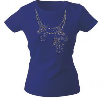 Girly-Shirt mit Print - Schmetterling - Glitzer - 12852 - versch. farben zur Wahl - blau / L