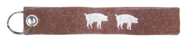 Filz-Schlüsselanhänger mit Stick - Schweine - Gr. ca. 17x3cm - 14096