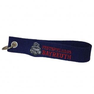 Filz-Schlüsselanhänger mit Stick FESTSPIELHAUS BAYREUTH Gr. ca. 17x3cm 14026 blau