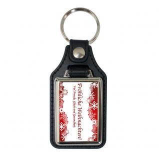 Leder-Schlüsselanhänger mit Metallplakette - Wünsche zu Weihnachten - Gr. ca. 5x7cm - 06237 - Keyholder for christmas