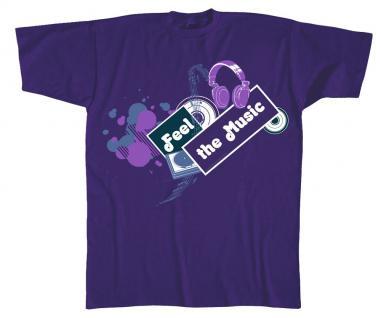 T-Shirt unisex mit Print - Feel the Musik - 10306 dunkellila - Gr. XXL