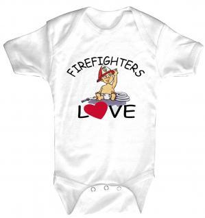 Babystrampler mit Print ? Firefighters Love? 08372 weiß - 0-24 Monate