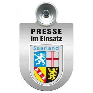 Einsatzschild Windschutzscheibe incl. Saugnapf - Presse im Einsatz - 309456-10 Region Saarland