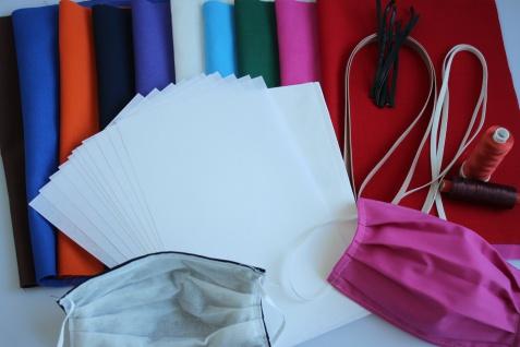 50er-Set UNI-Farben Self-Made-Set (DIYS) wertige Stoff-Ausführung - Alltagsmasken Behelfsmasken zum selber nähen