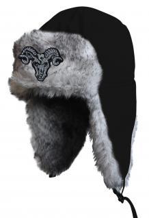 Chapka Fliegermütze Pilotenmütze Fellmütze in schwarz mit 28 verschiedenen Emblemen 60015-schwarz Widder 3