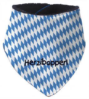 Dreiecktuch mit Einstickung - HERZIBOPPERL - 12211 blau-weiße Rauten