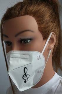 1x FFP2 Maske Deutsche Herstellung CE zertifiziert mit Aufdruck - Notenschlüssel