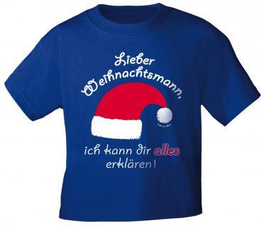 Kinder-T-Shirt mit Print - LIEBER WEIHNACHTSMANN ... - 12706 dunkelblau - Gr. 122/128