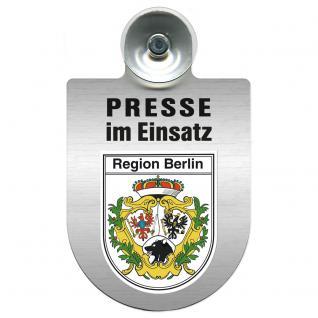 Einsatzschild Windschutzscheibe incl. Saugnapf - Presse im Einsatz - 309456-14 Region Berlin