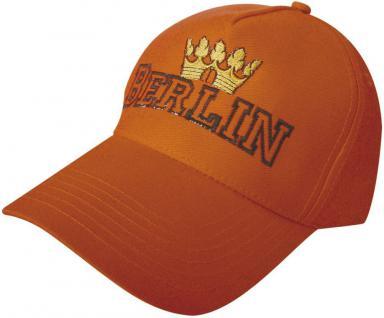 Cap - Schirmmütze mit Großstick - Krone Berlin Deutschland - 68852 orange o. weiss - Baumwollcap Cappy Baseballcap Hut