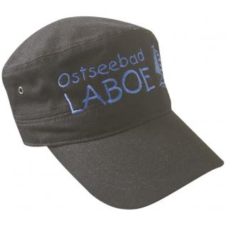 Cap - Military - Schirmmütze gross bestickt - Ostseebad Laboe - 68849 grau - Baumwollcap Cappy Baseballcap Hut