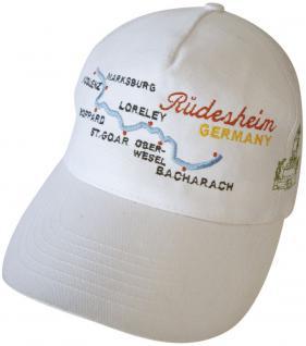 Baumwollcappy - Cap mit gr. farbiger Bestickung - Rüdesheim Rhein Loreley - 68028-1 weiss - Baumwollcap Baseballcap Schirmmütze Hut