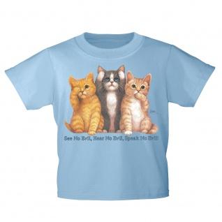 Kinder T-Shirt mit Print Cat Katzen sehen hören sprechen KA075/1 Gr. 128-164