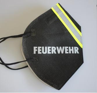 1 FFP2 Maske in Schwarz mit fluoreszierenden Streifen und Print - FEUERWEHR - 15383