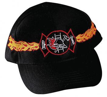Baseballcap mit Einstickung - Feuerwehr mit Flammen - 68295 schwarz - Baumwollcap Baseballcap Schirmmütze Hut