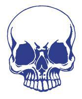 Aufkleber Applikation - Totenkopf Skull Schädel - AP1705 blau / 12cm
