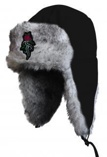 Chapka Fliegermütze Pilotenmütze Fellmütze in schwarz mit 28 verschiedenen Emblemen 60015-schwarz Tribal Rose