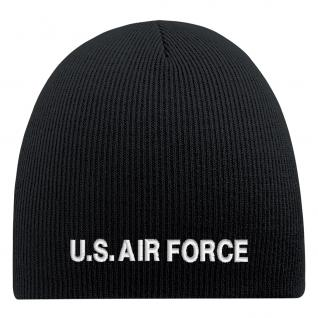 Beanie-Mütze mit Einstickung - U.S. AIR FORCE - Wollmütze Wintermütze Strickmütze - 54803 schwarz