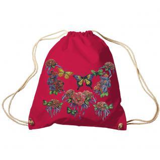 Trend-Bag Turnbeutel Sporttasche Rucksack mit Print - Schmetterlinge - TB65323 rot