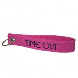 Filz-Schlüsselanhänger mit Stick Time out Gr. ca. 17x3cm 14292 rosa