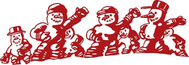 Wandtattoo Dekorfolie Weihnachten Schneemänner WD0818 rot / 120cm