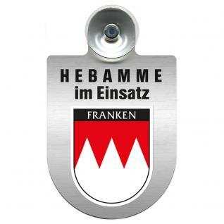 Einsatzschild Windschutzscheibe incl. Saugnapf -Hebamme im Einsatz - 309357-18 - Region Franken