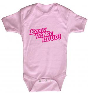 Baby-Body mit Print - Born to be loud - 12475 - rosa - Gr. 6-12 Monate