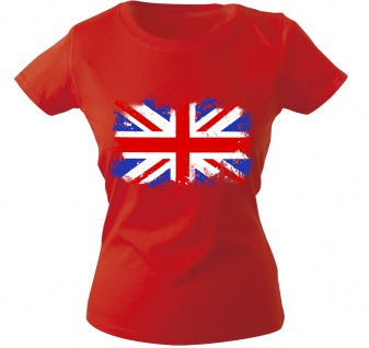 Girly-Shirt mit Print Flagge Fahne Union Jack Großbritannien G12122 Gr. rot / S