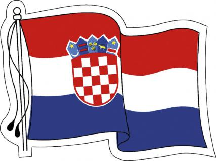 Aufkleber Autoaufkleber Länderfahne wehend - Croatia - Kroatien - 301340 - Gr. ca. 80mm x 60mm