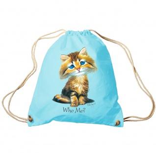 Trendbag Sporttasche Turnbeutel Print Katze Cat Who me? - 65141 versch. Farben hellblau