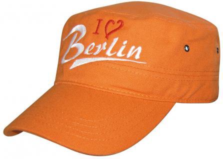 Military - Cap mit Berlin - Stickerei - I love Berlin - 60526 orange - Baumwollcap Baseballcap Hut Cappy Schirmmütze