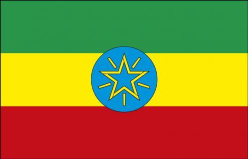 FAHNE FLAGGE - Äthiopien 003 - NEU - Gr. 40cm x 30cm - Länderflagge zur Befestigung an z.B. der Autoscheibe