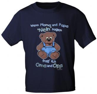 Kinder T-Shirt mit Aufdruck - Wenn Mama und Papa ... - 08210 - dunkelblau - Gr. 134/146