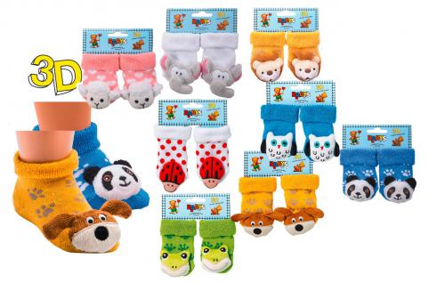Baby- Erstlings Rassel Söckchen - versch. Motive zur Wahl - 0-4 Monate - 56707 Panda