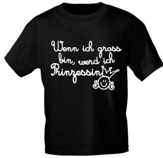 Kinder T-Shirt mit Print - Wenn ich groß bin.... - 08189 - schwarz - Gr. 86/92