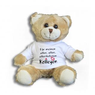 Teddybär mit Shirt - Für meinen aller, aller, allerliebsten Kollegen - Größe ca 26cm - 27172 hellbraun