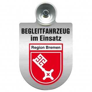 Einsatzschild Windschutzscheibe incl. Saugnapf - Begleitfahrzeug im Einsatz - 309457 - Region Bremen