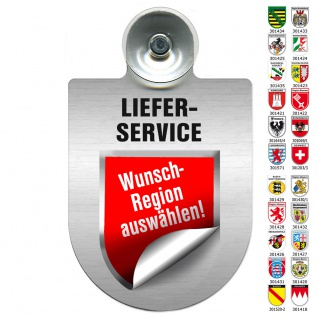 Einsatzschild Windschutzscheibe incl. Saugnapf - LIEFERSERVICE Region Saarland