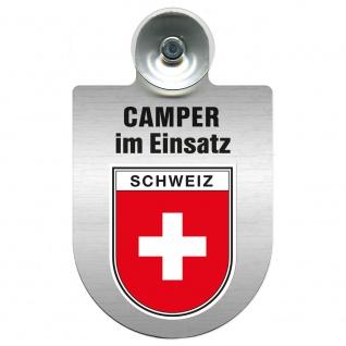 Einsatzschild Windschutzscheibe incl. Saugnapf - Camper im Einsatz - 309764 - Region Schweiz