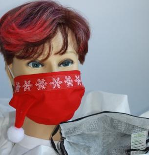 Textil Design Maske aus Baumwolle, mit zertifiziertem Innenvlies - Eiskristalle mit weißem Bommel - 15899