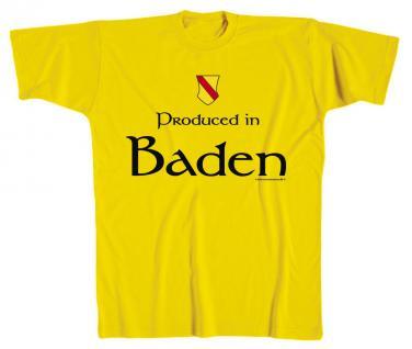 T-Shirt unisex mit Aufdruck - BADEN - 09902 gelb - Gr. S-XXL
