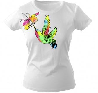 Girly-Shirt mit Print - Kolibri mit Blüte - 09423 weiß Gr. S-2XL